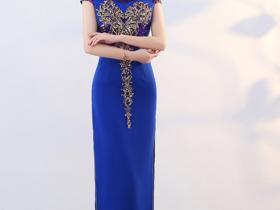 蓝色中国风旗袍,长腿半漏,看得脸都红了!